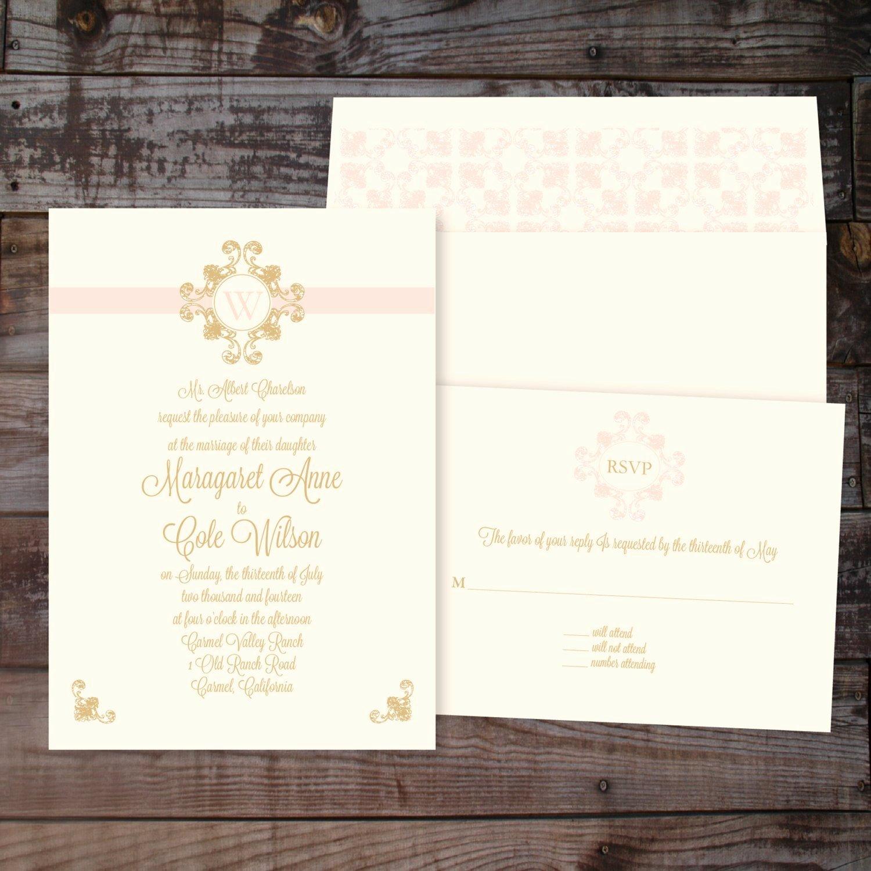 Formal Elegant Monogram Wedding Invitation – Diy Printable