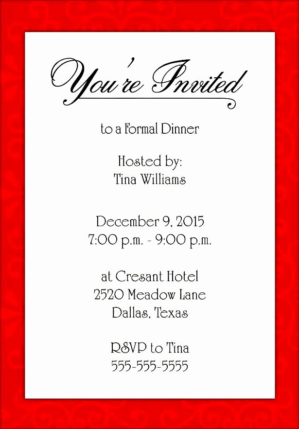 Formal Invite Template Invitation Template