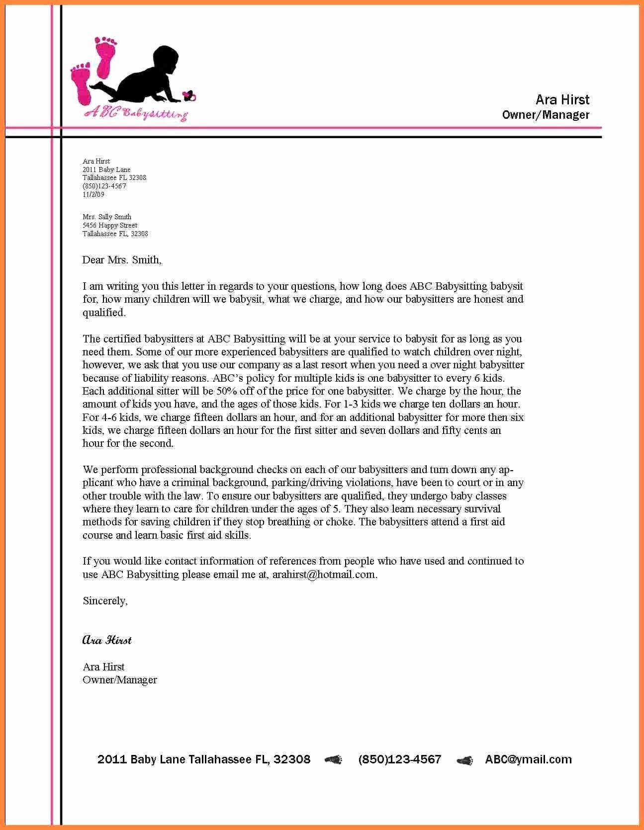 formal letter format with letterhead 2018