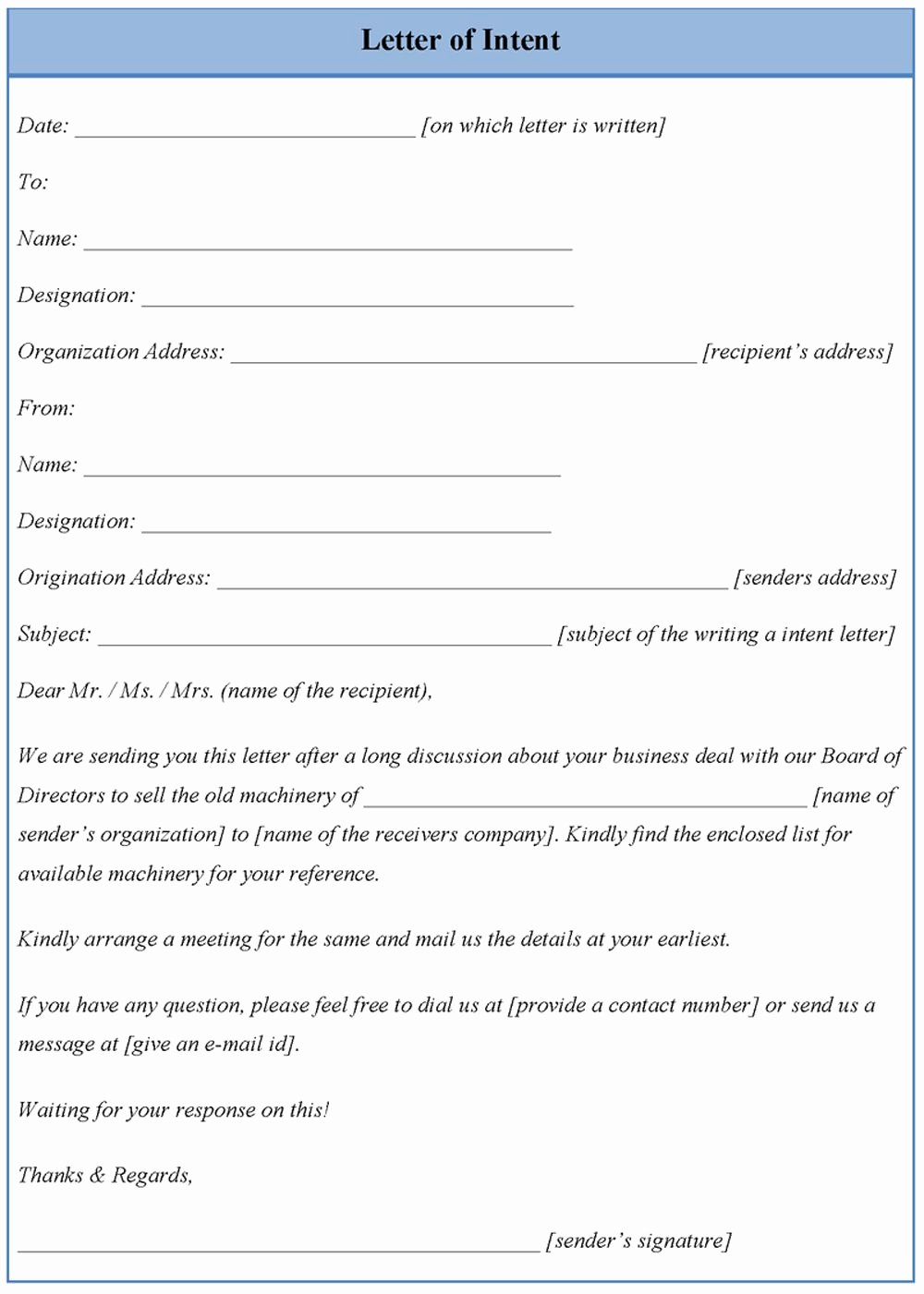 Formal Letter Of Intent Sample – Letter format Writing