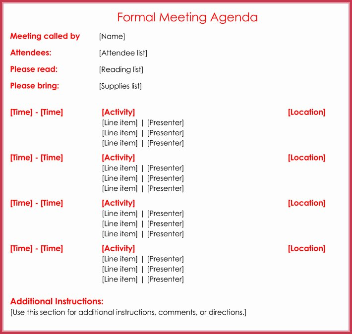 Formal Meeting Agenda Template 12 Best Samples for Word