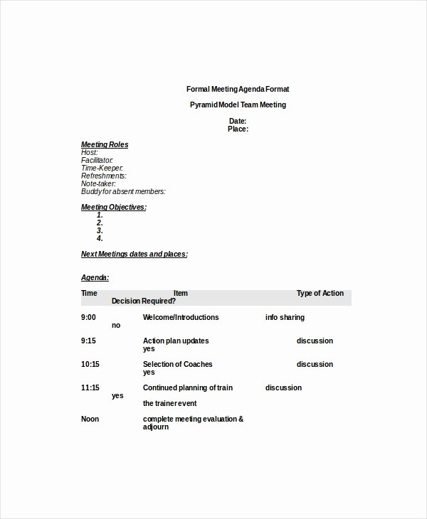 Formal Meeting Agenda Template – 7 Free Word Pdf