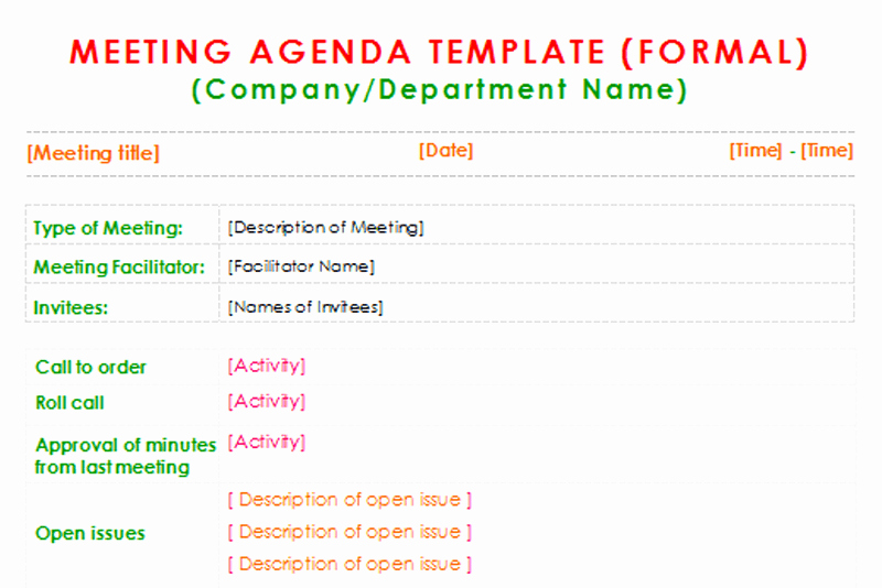 Formal Meeting Agenda Template for Word Dotxes