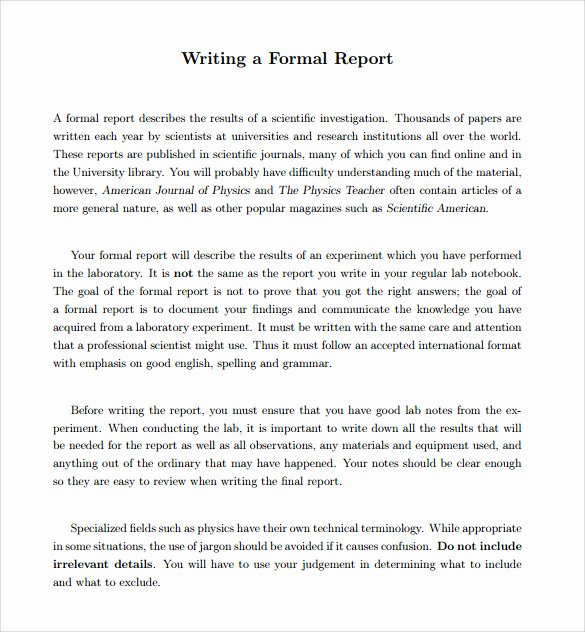 Formal Report Template 12 Download Documents In Pdf