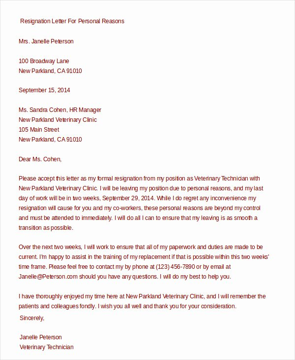 Formal Resignation Letter 15 Free Word Pdf Documents