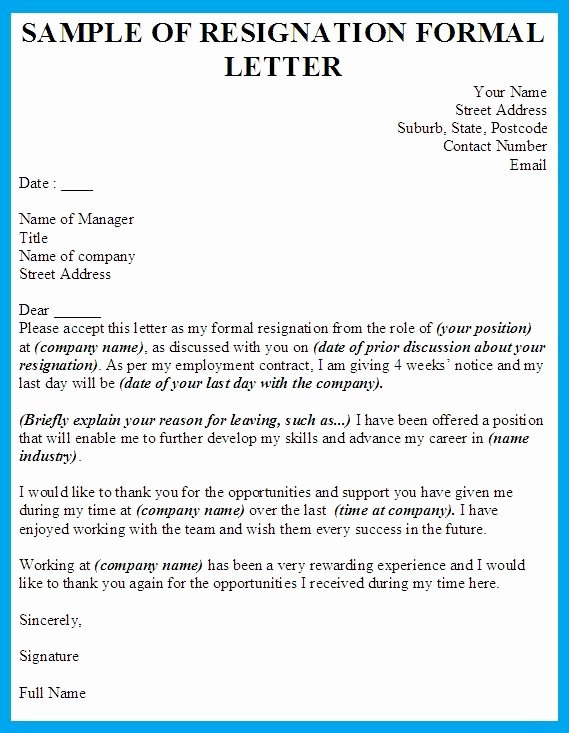 Formal Resignation Letter Template Shiena