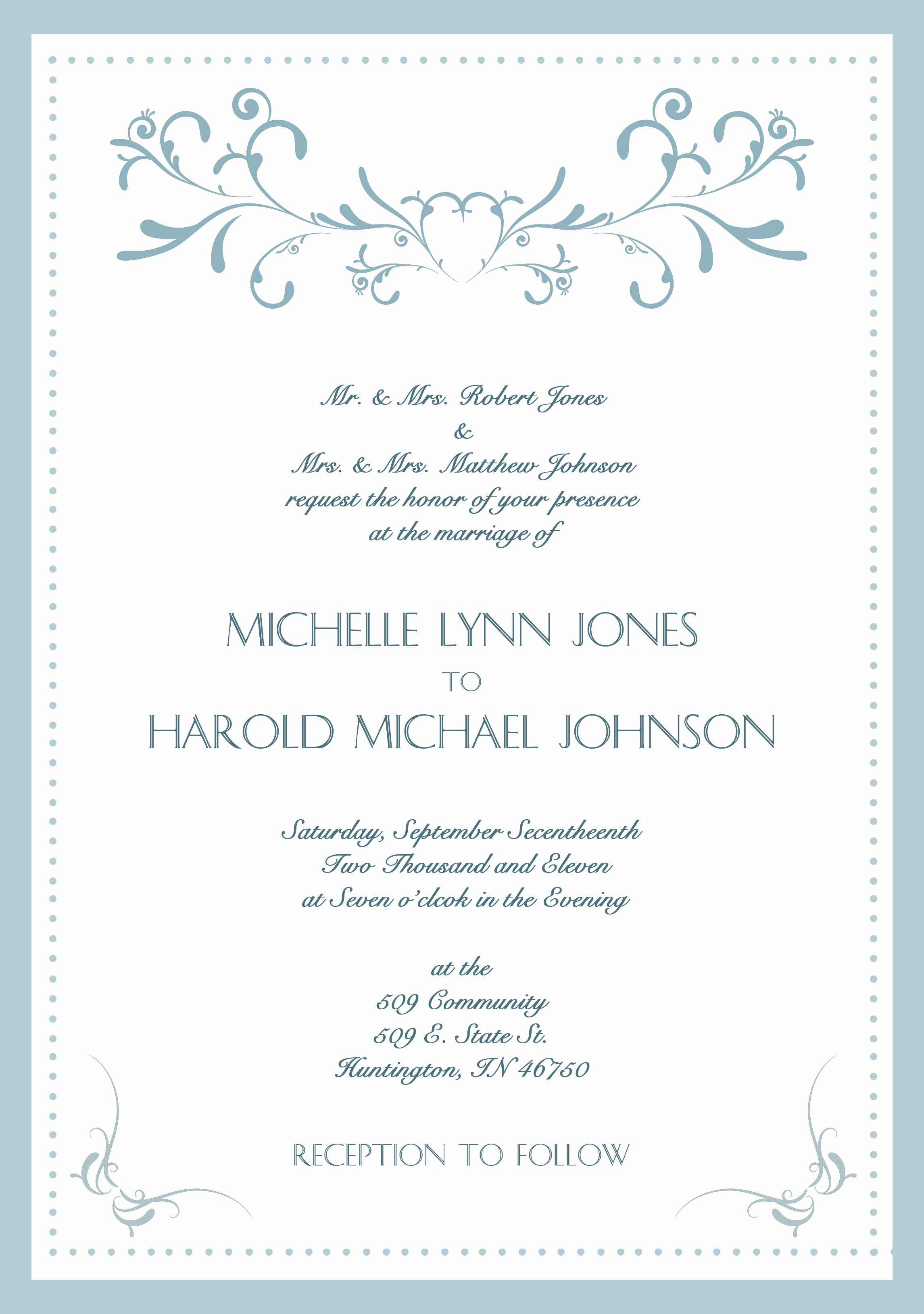 Formal Wedding Invitation Wording formal Wedding