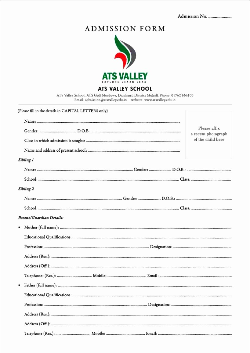 Format Application for Admission In School New Customer