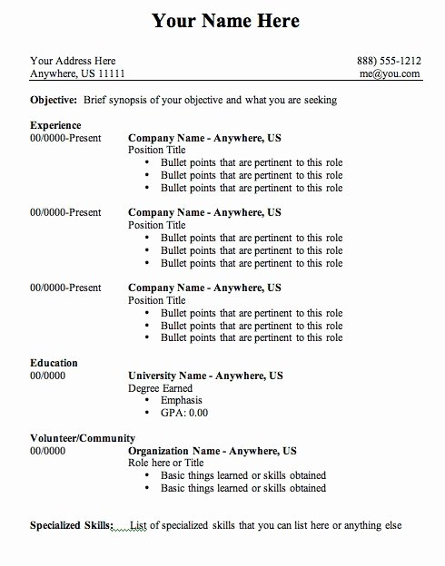 Format Basic Resume Outline Template