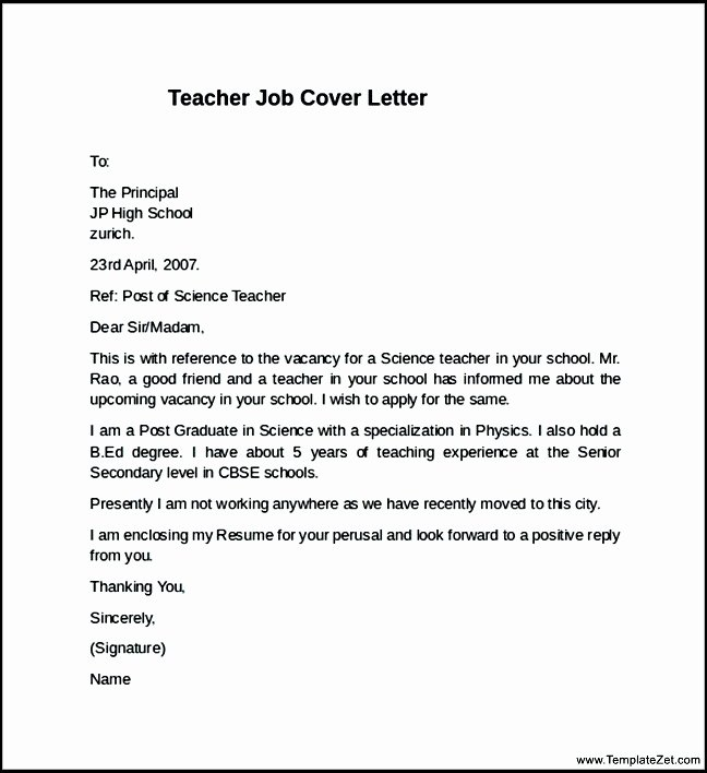 Format Job Application Letter for the Post Teacher