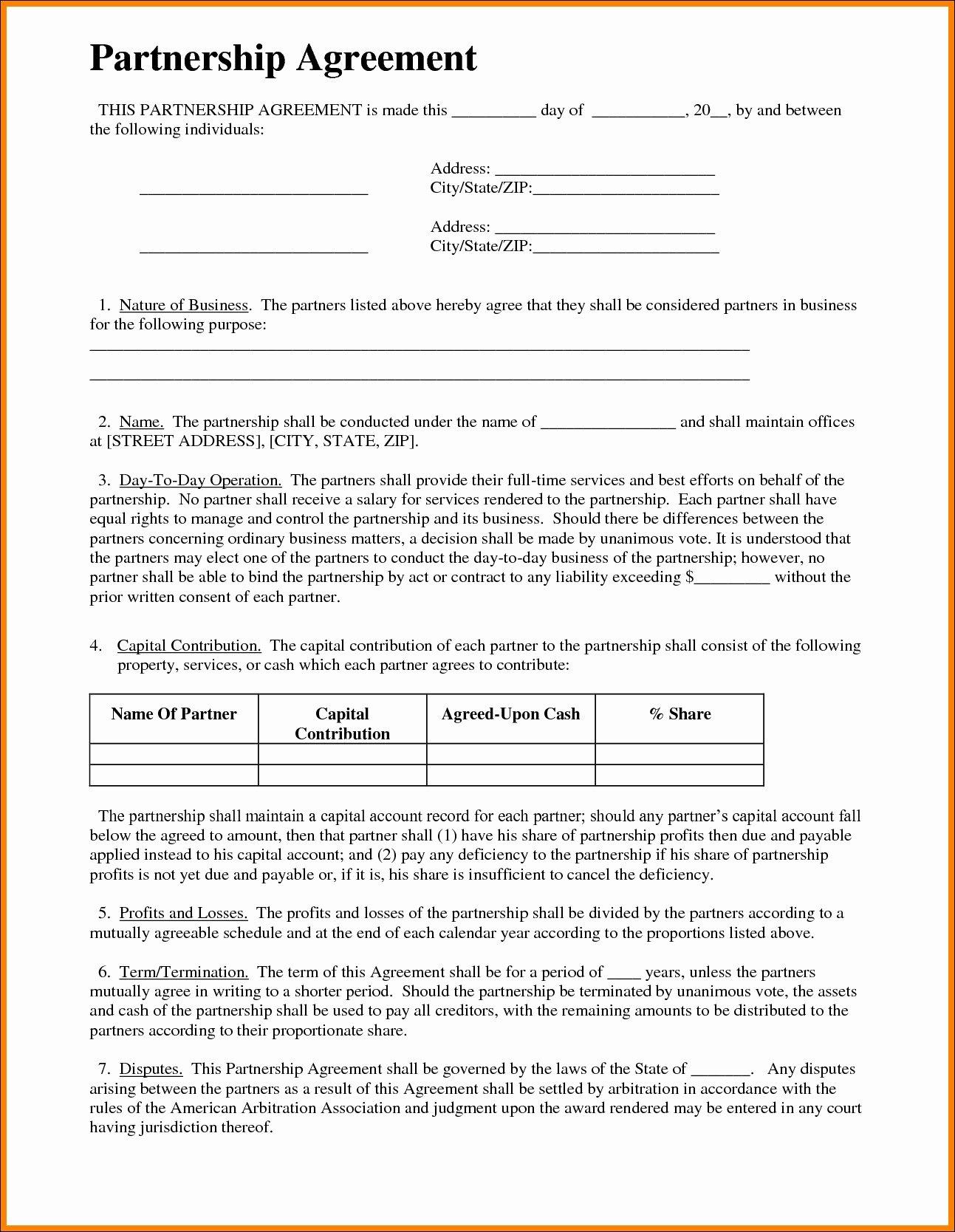 Format Partnership Agreement Standard Basic Template