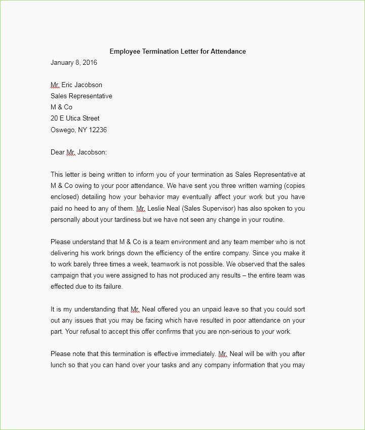 Format Termination Letter for Bad Behavior