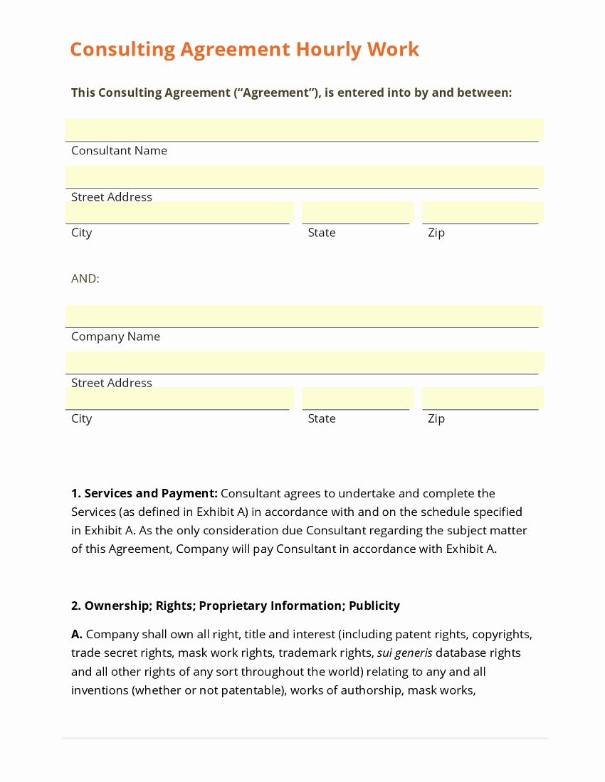 Formatted Consulting Contract Template Sample