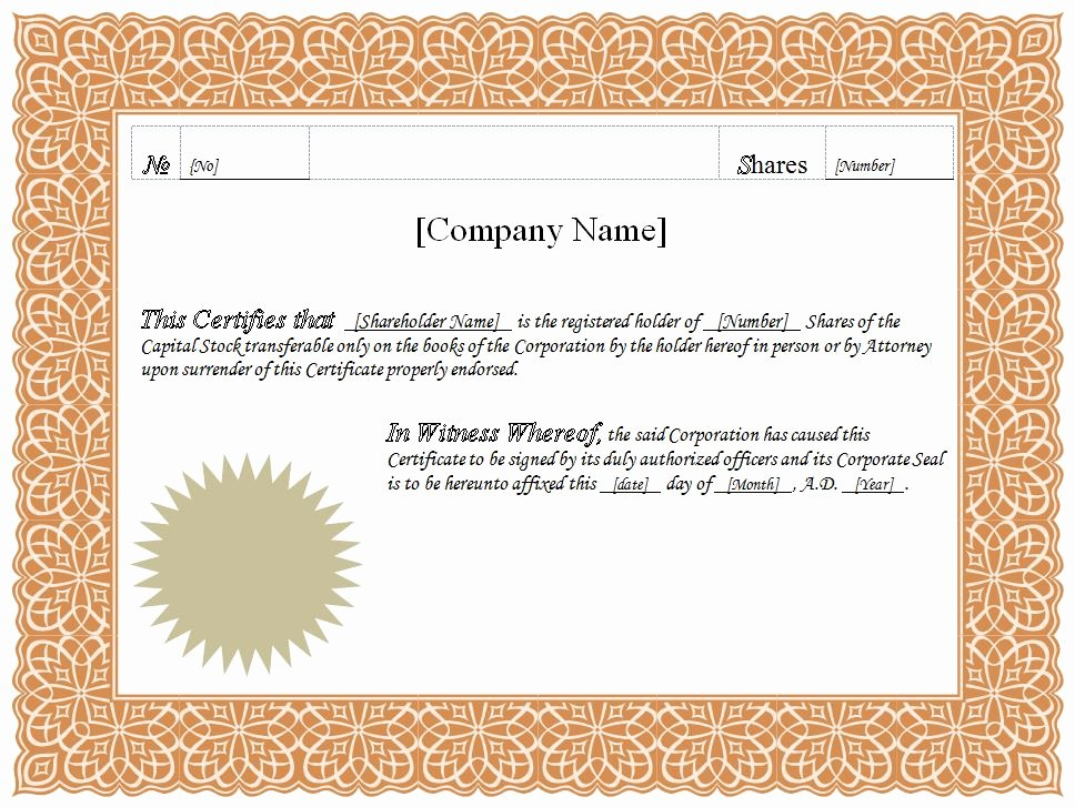 Formatted Stock Certificate Templates