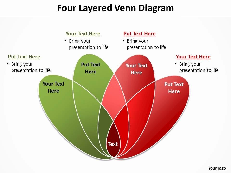 Four Layered Venn Diagram Rose Petals Powerpoint Diagram