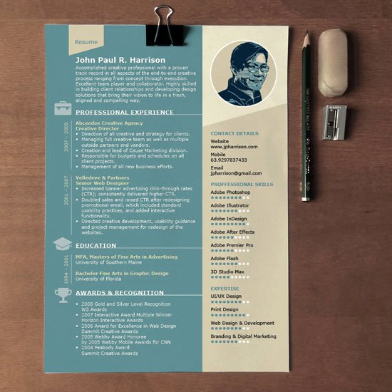 Free 1 Page Indesign Resume Template