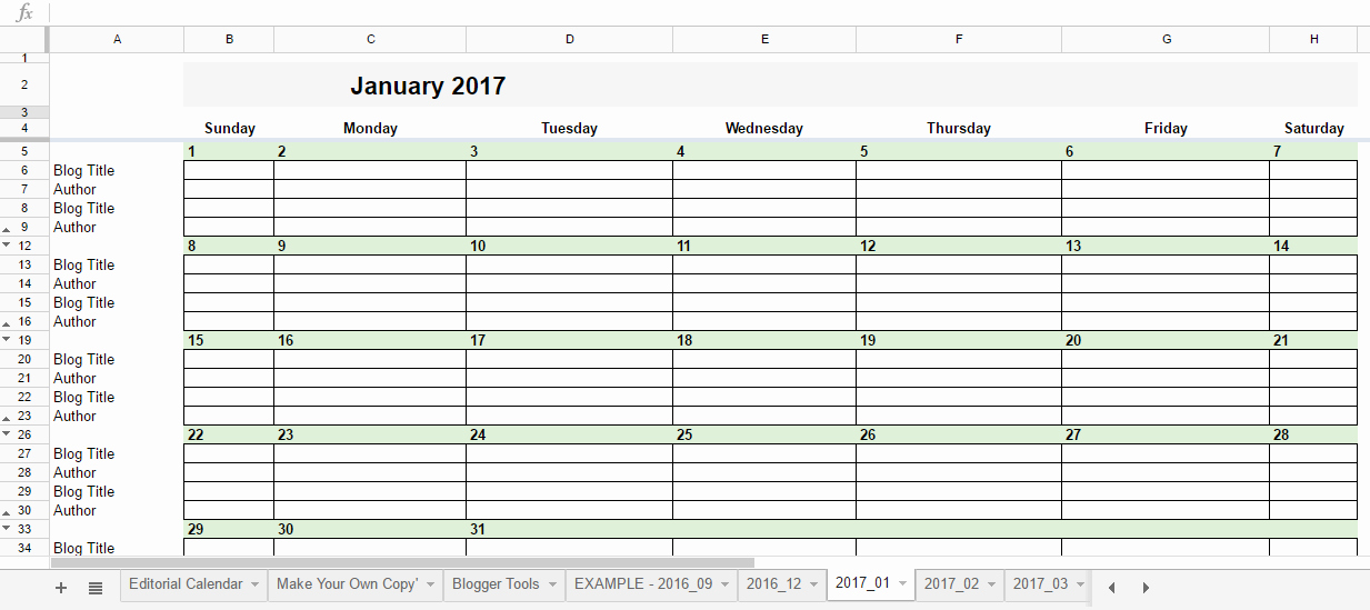 free 2017 editorial calendar in google spreadsheets