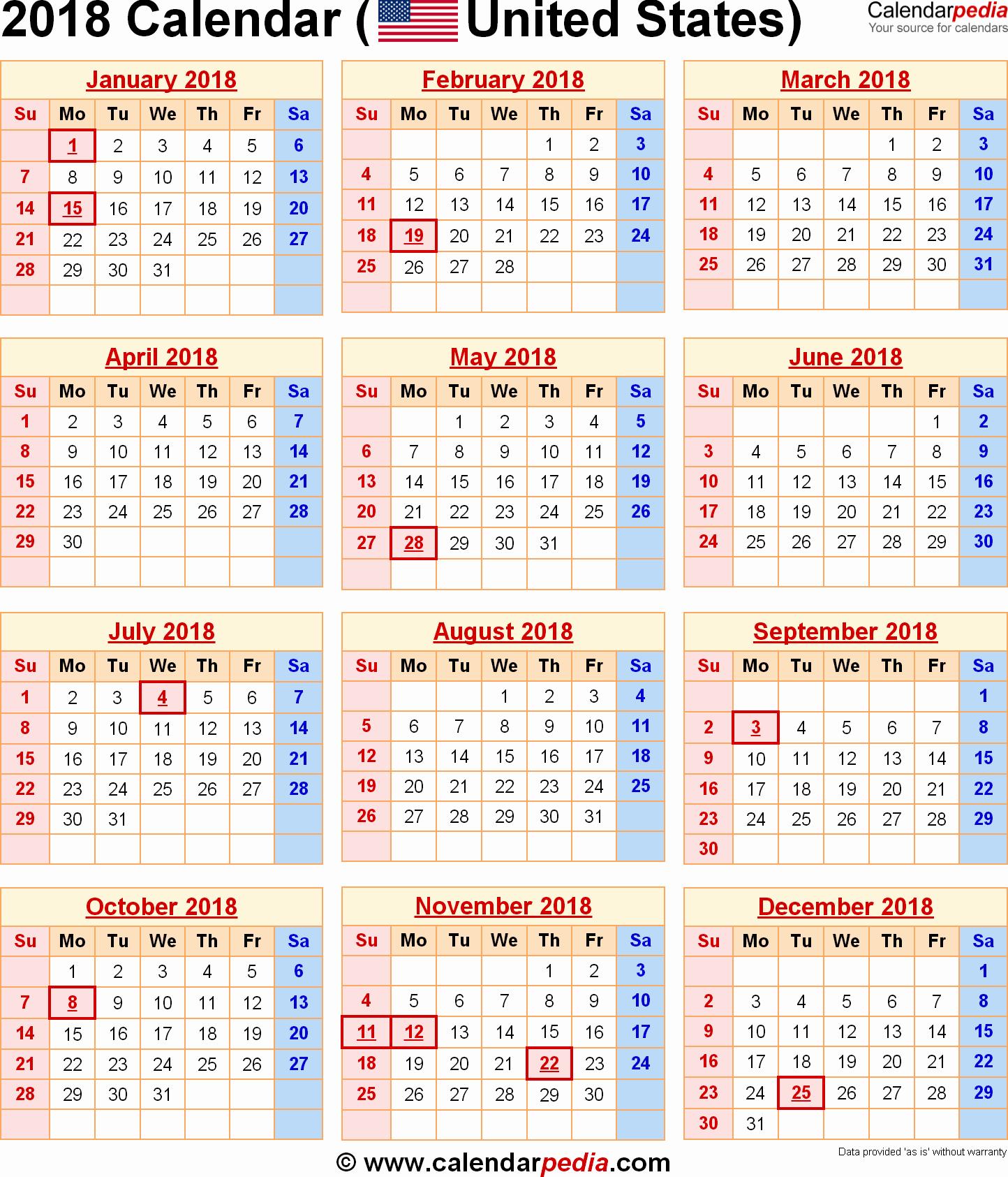 Free 2018 Calendar with Holidays