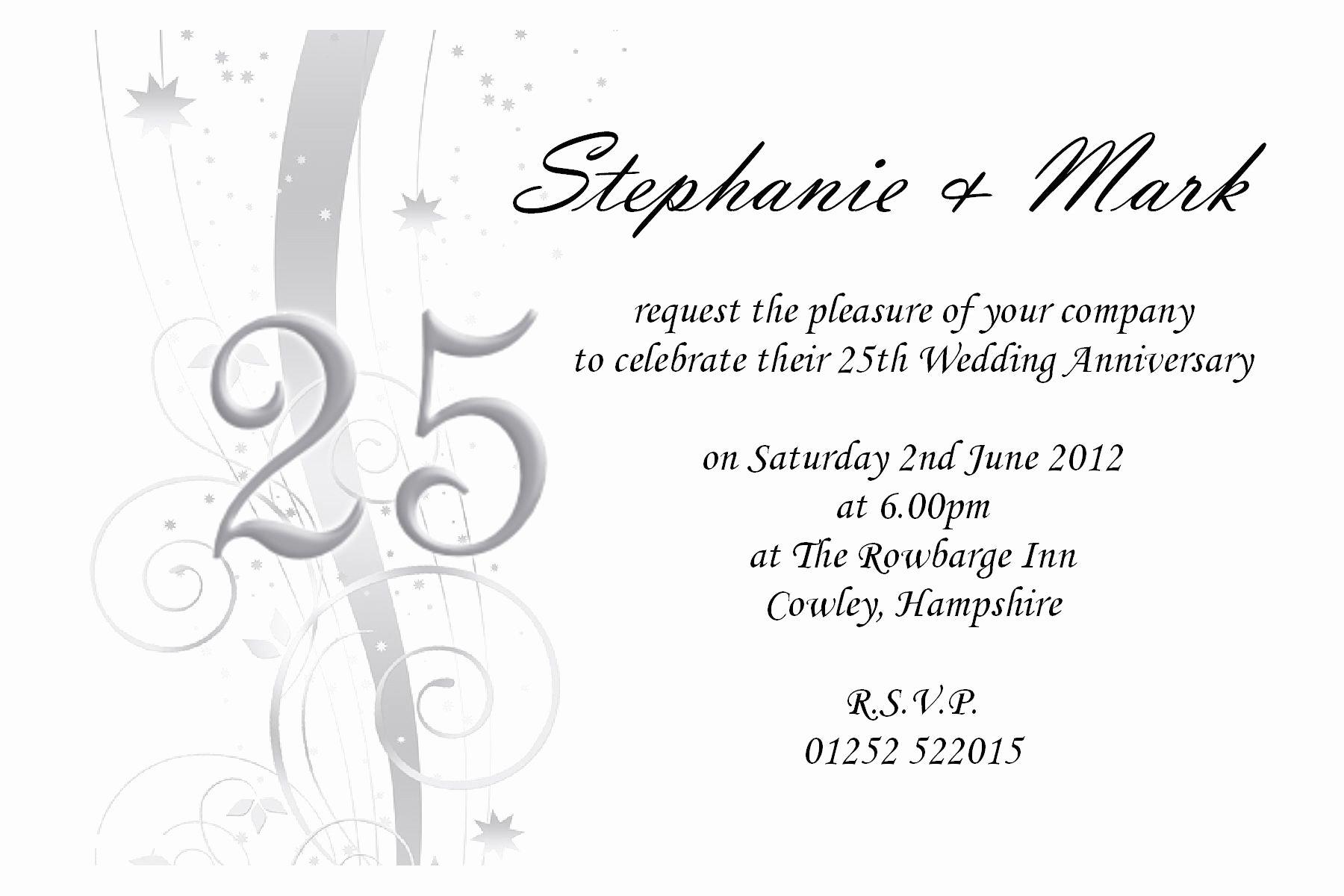 Free 25th Wedding Anniversary Invitations Free Online