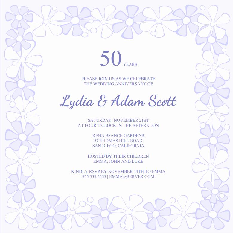Free 50th Anniversary Invitation Template