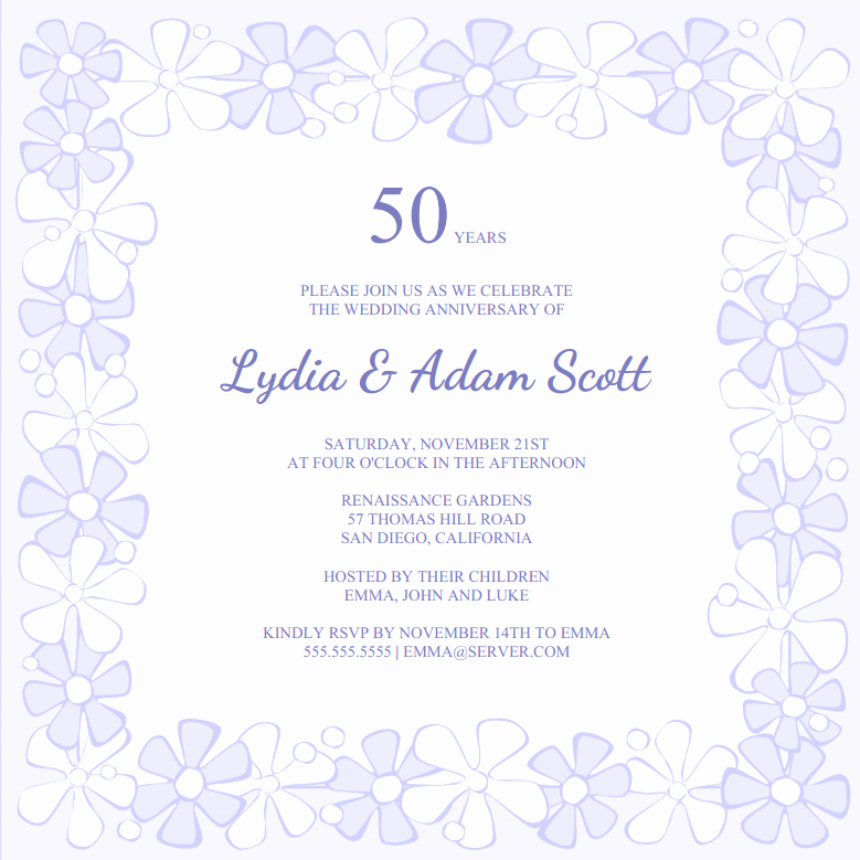 Free 50th Anniversary Invitation Template