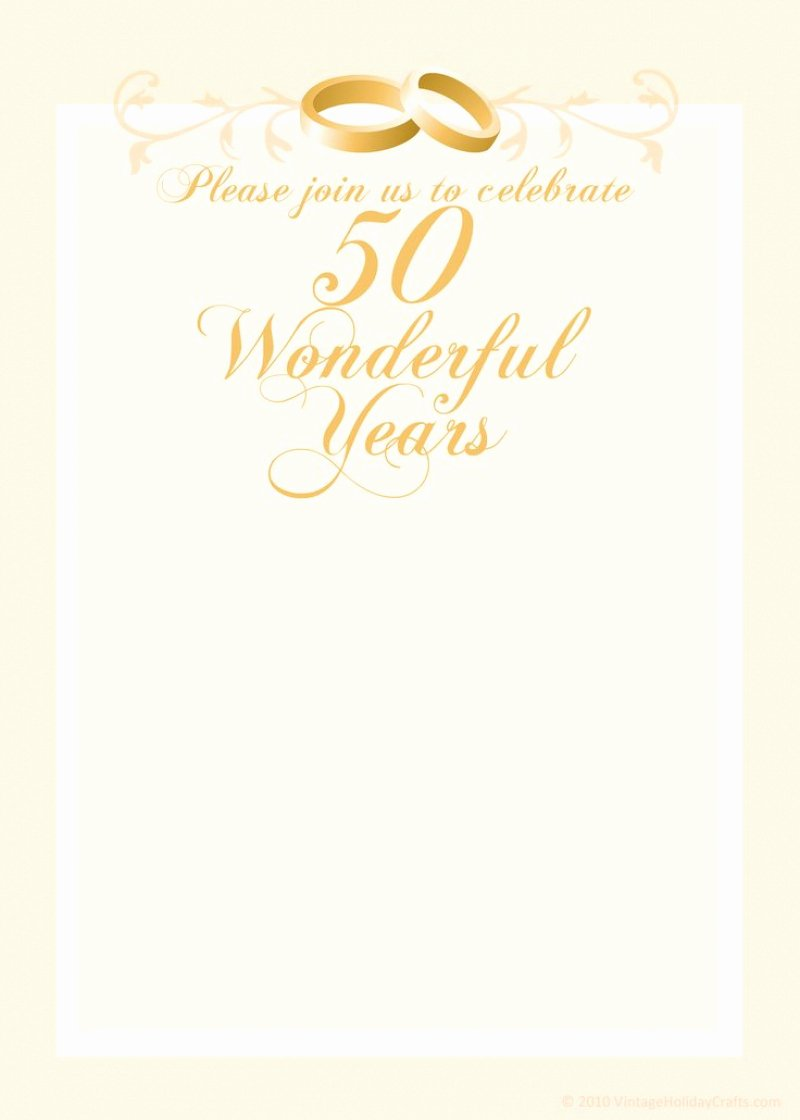 Free 50th Wedding Anniversary Invitation Template