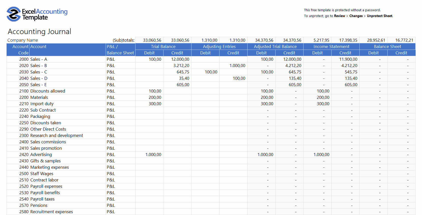 Free Accounting Templates In Excel for Your