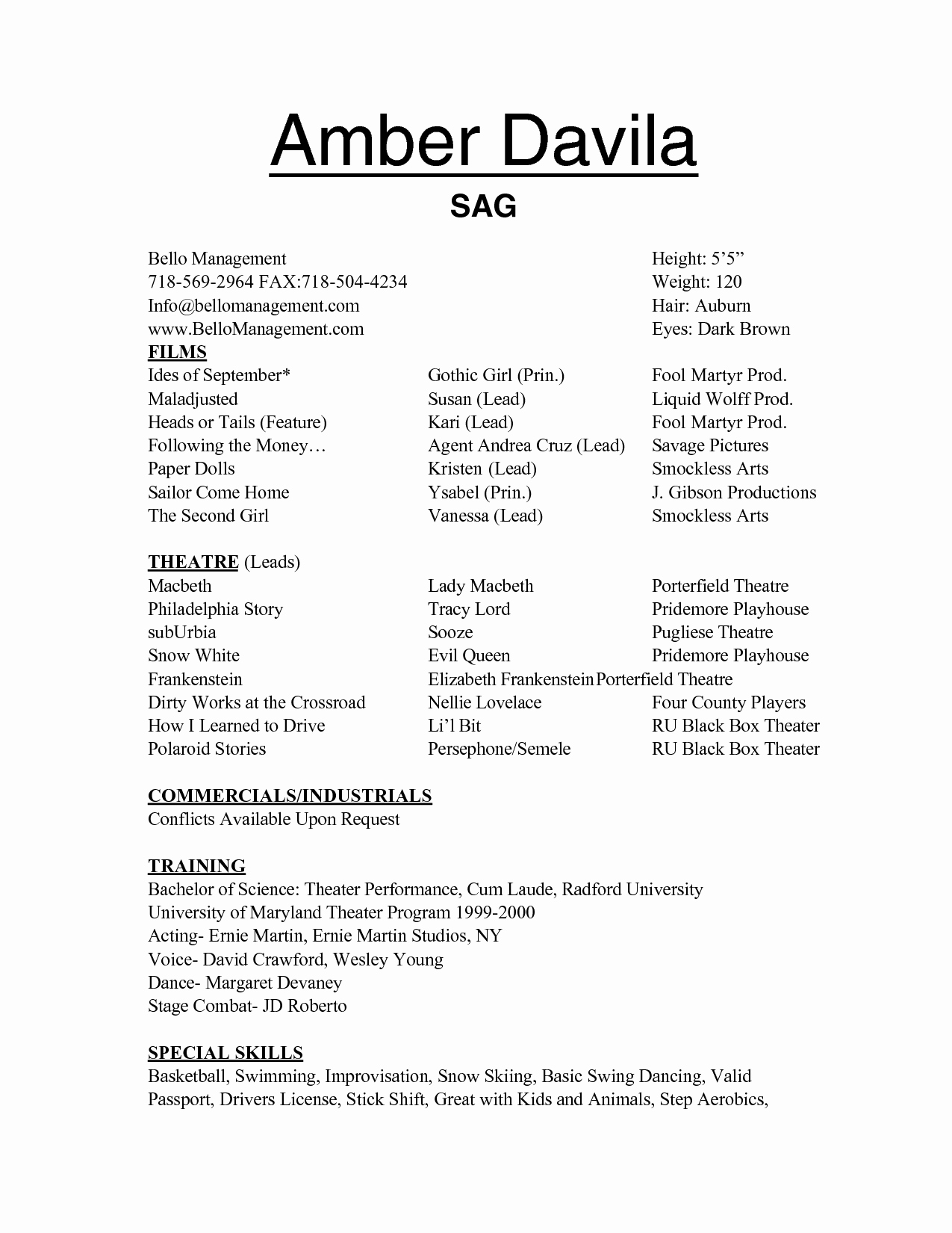 Free Acting Resume Templates Samplebusinessresume