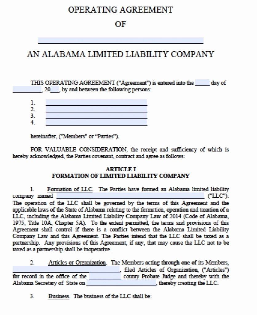 Free Alabama Llc Operating Agreement Template Pdf