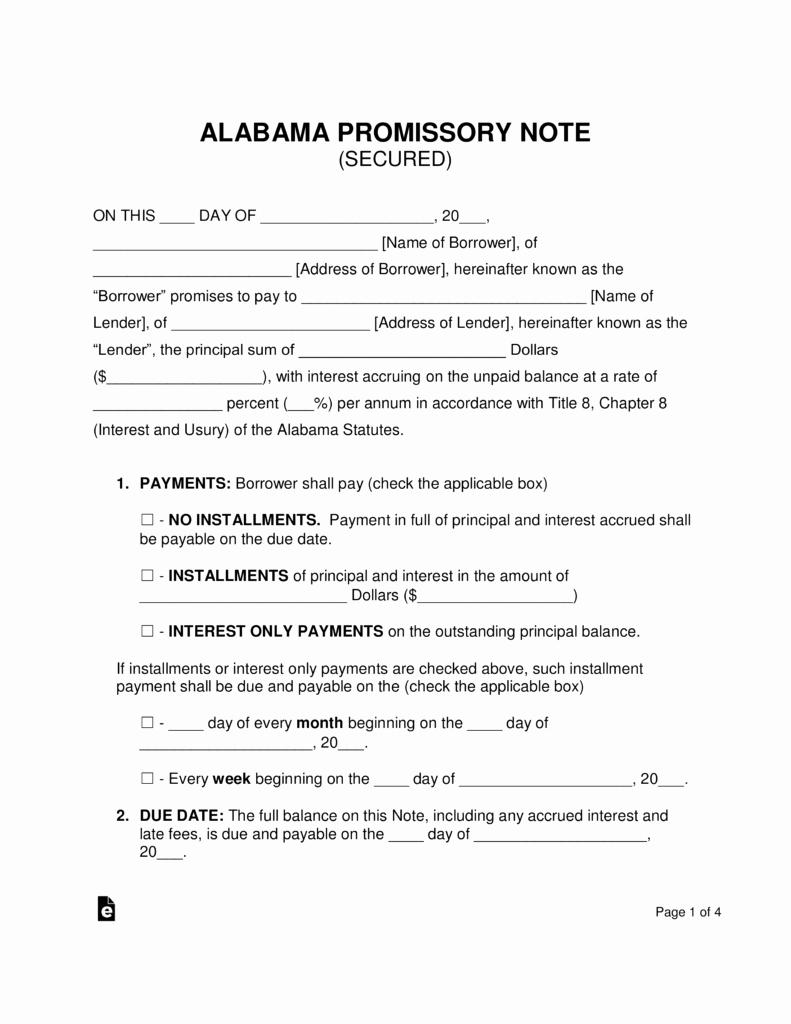 Free Alabama Secured Promissory Note Template Pdf