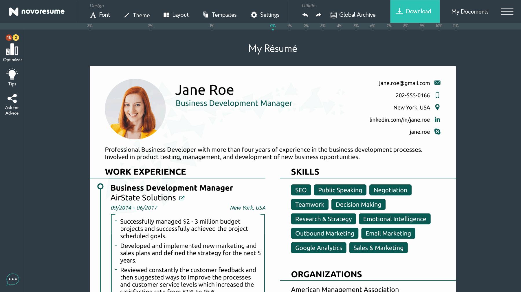 Free & Standard Line Resume Builder