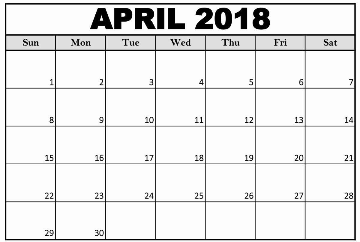 Free April 2018 Calendar Printable