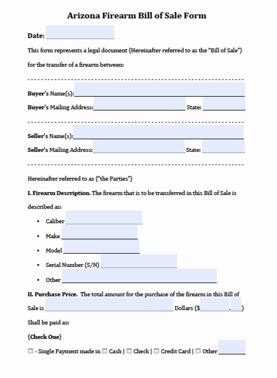 Free Arizona Firearm Bill Of Sale form Pdf