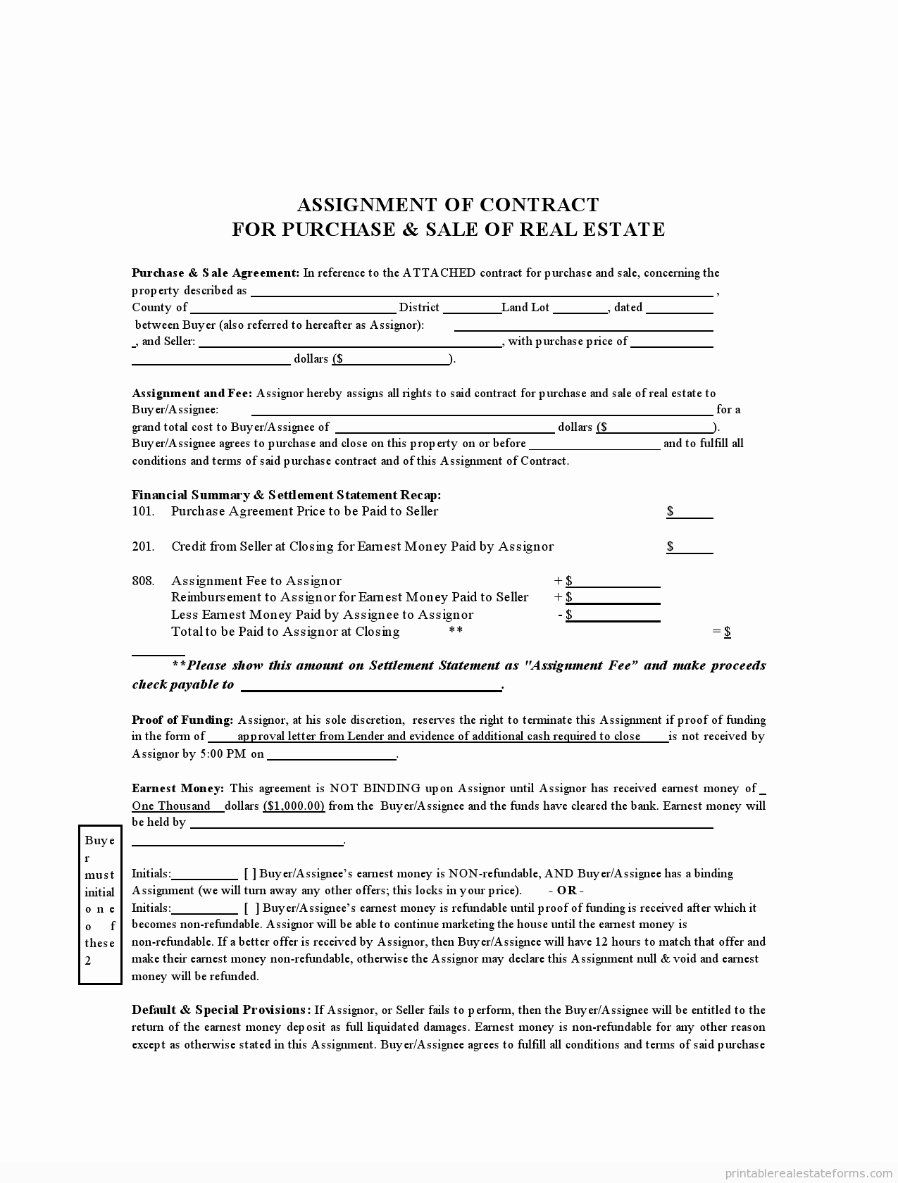 Free assignment Contract form Real Estate Sample