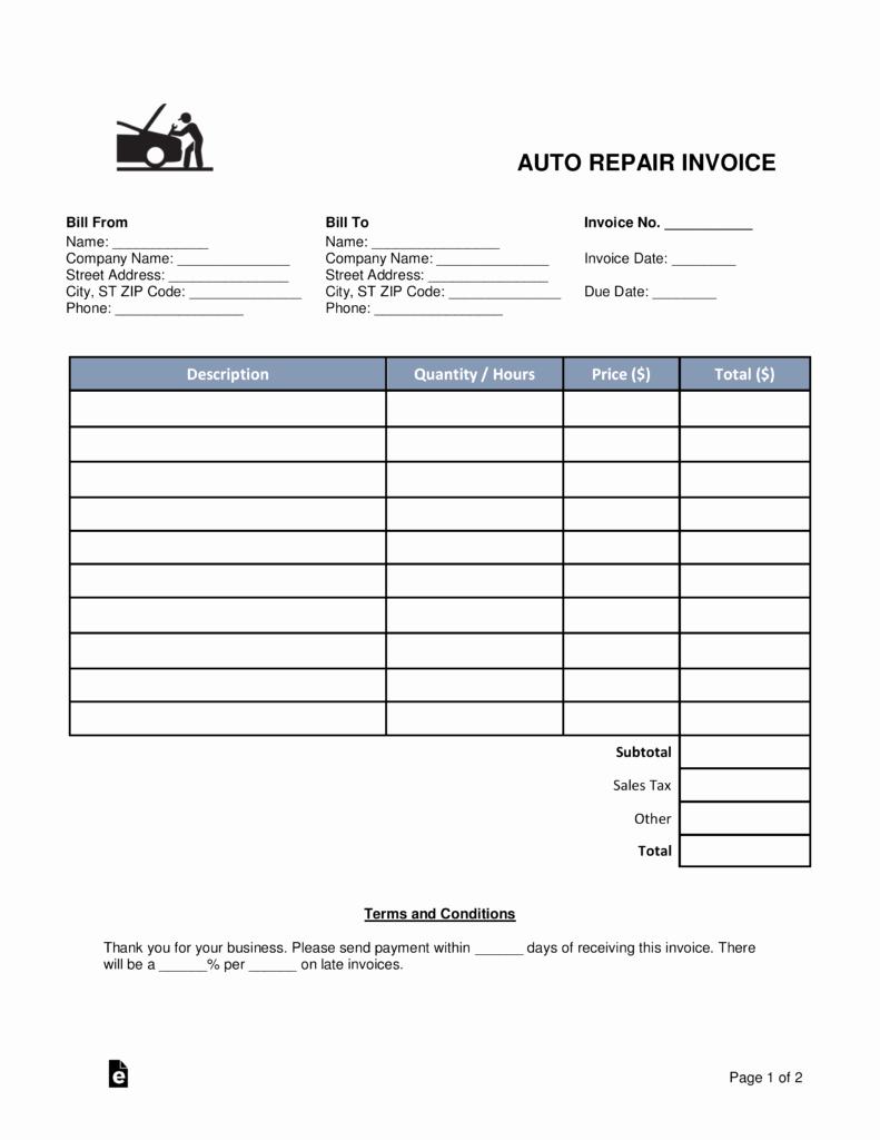 Free Auto Body Mechanic Invoice Template Pdf