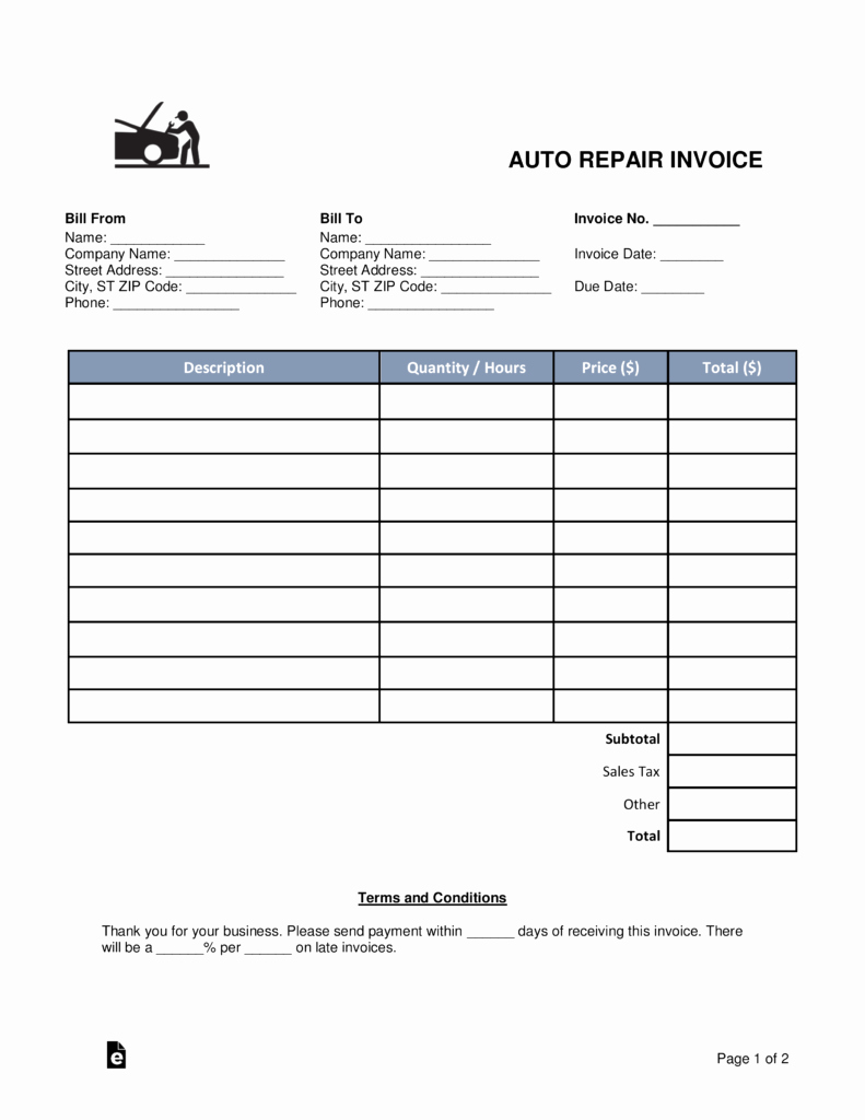 Free Auto Body Mechanic Invoice Template Pdf