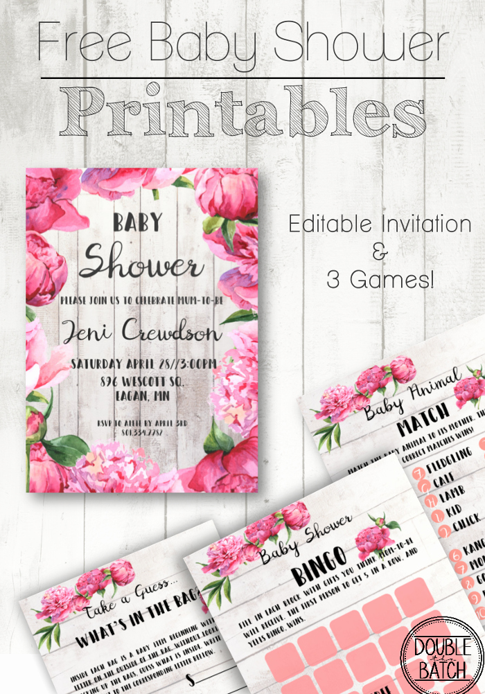 Free Baby Shower Printables Double the Batch L