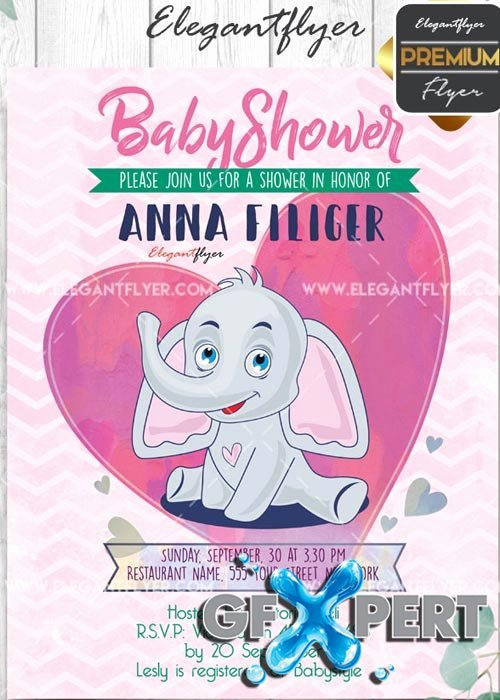 Free Baby Shower V7 Flyer Psd Template Cover