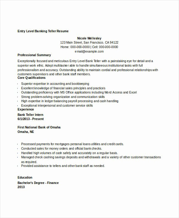 Free Banking Resumes 43 Free Word Pdf Documents