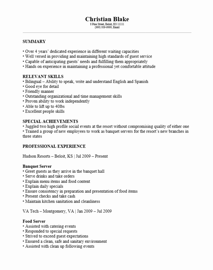 Free Banquet Server Resume Template Sample