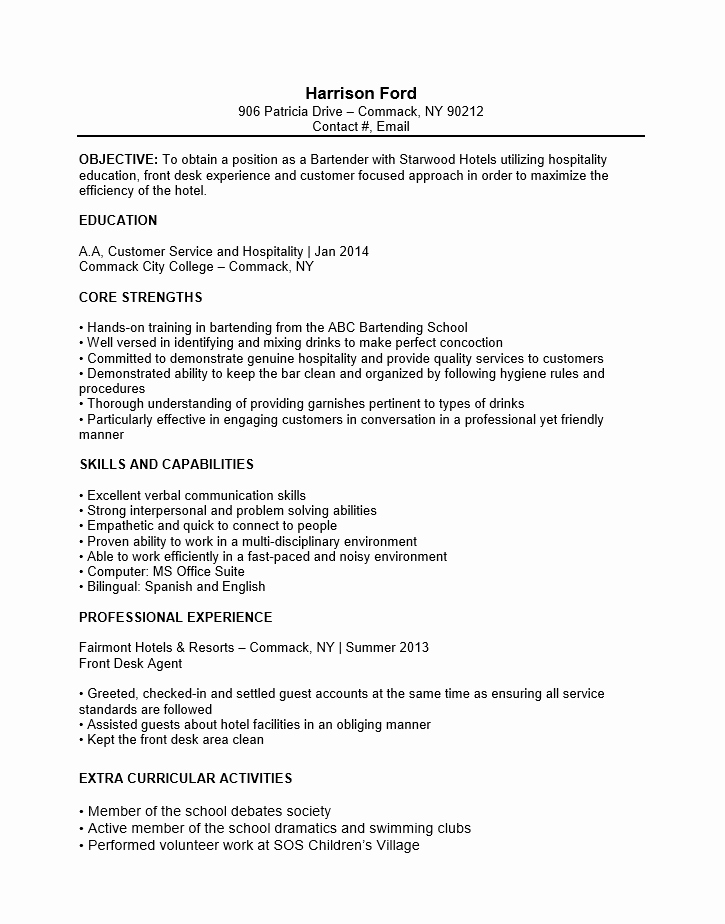 Free Bartender No Experience Entry Level Resume Template