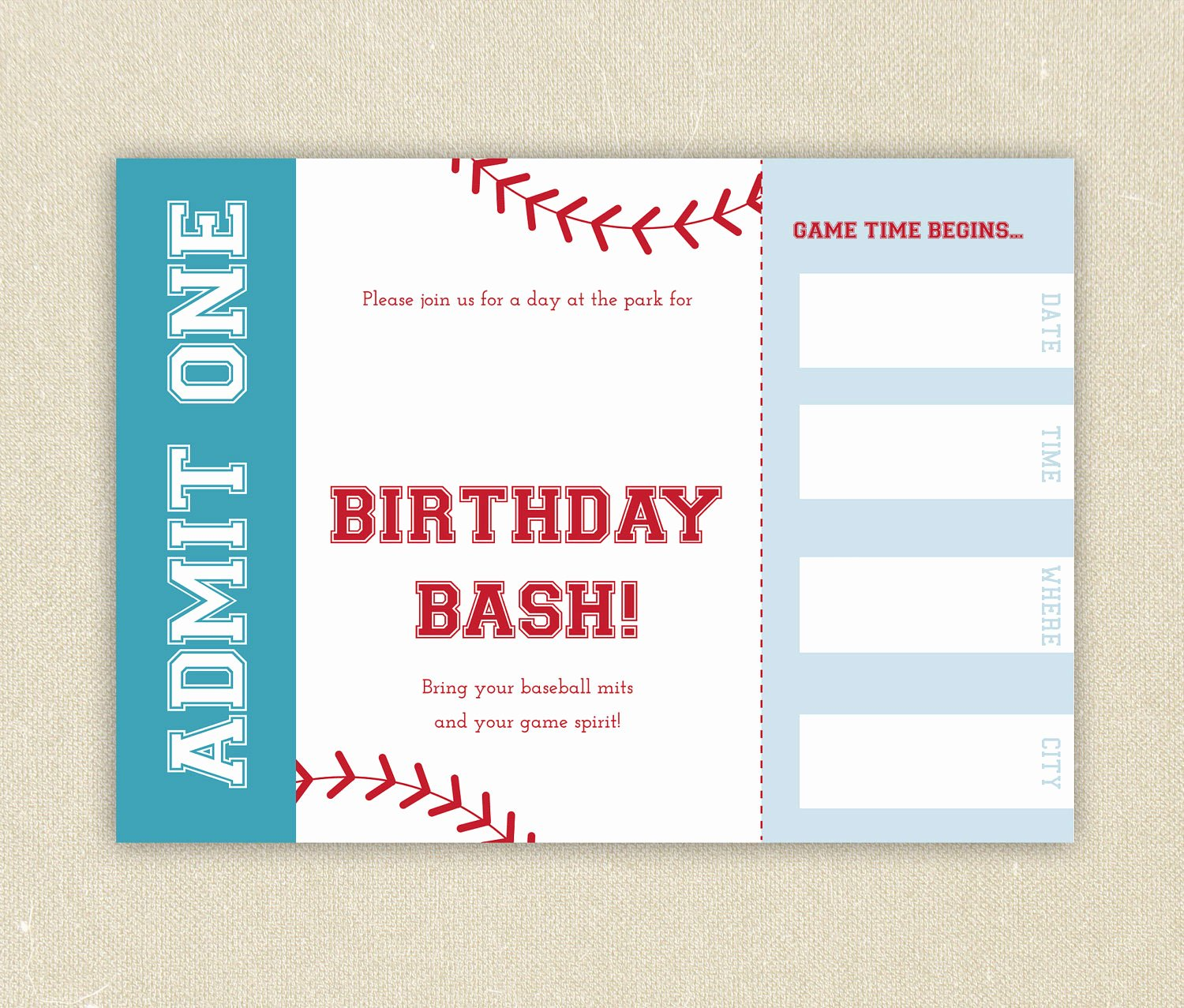 Free Baseball Ticket Birthday Invitation Template