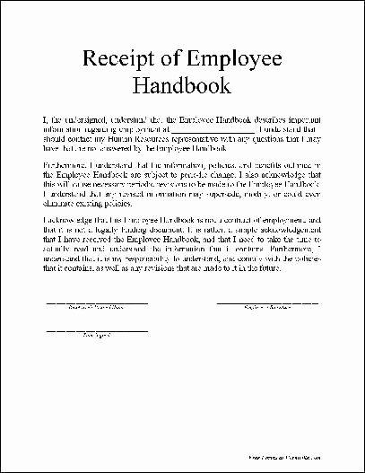 Free Basic Employee Handbook Receipt