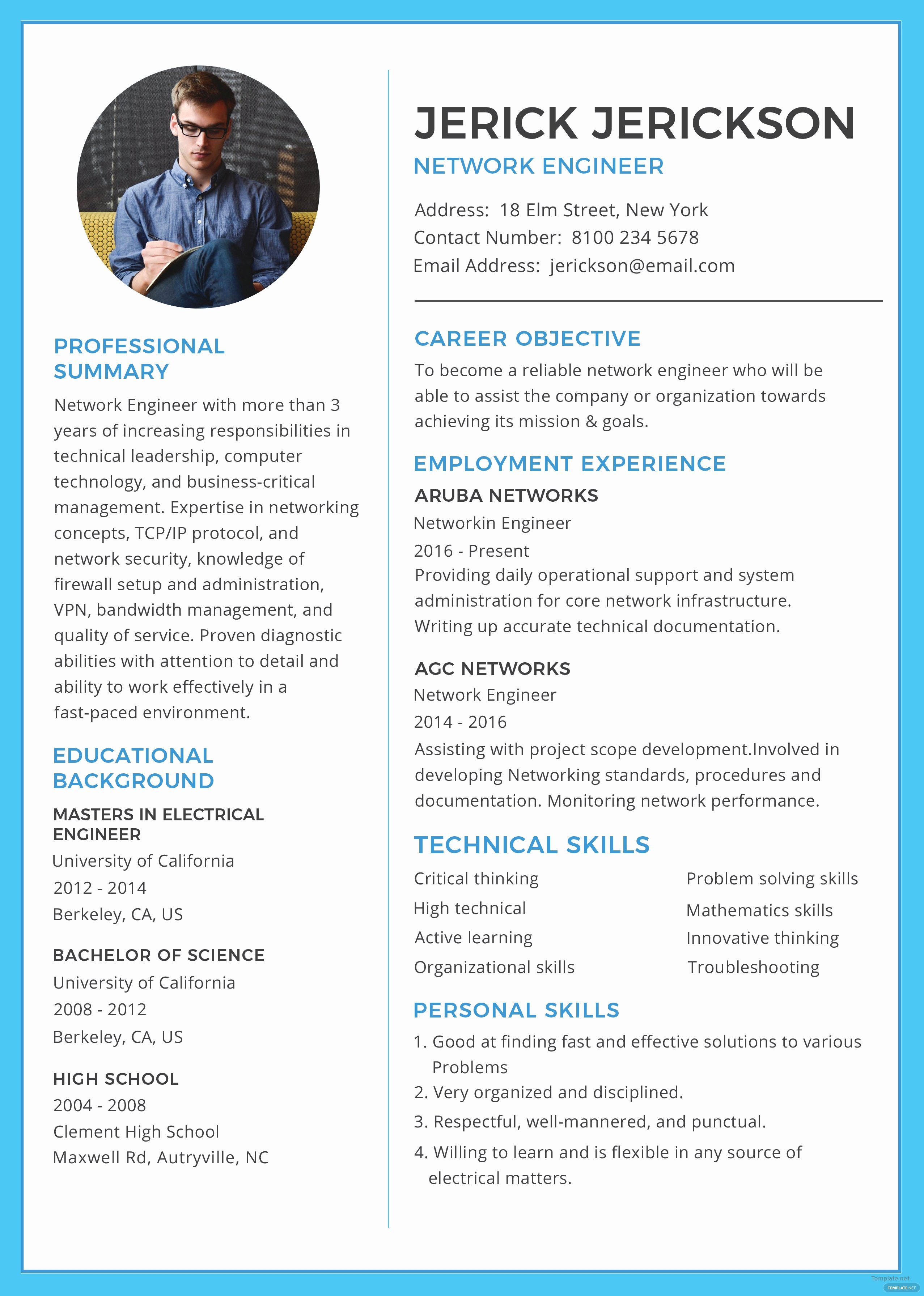 Free Basic Network Engineer Resume and Cv Template In