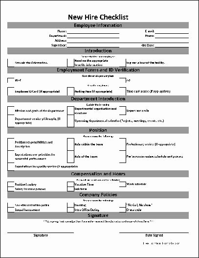 Free Basic New Hire Checklist From formville