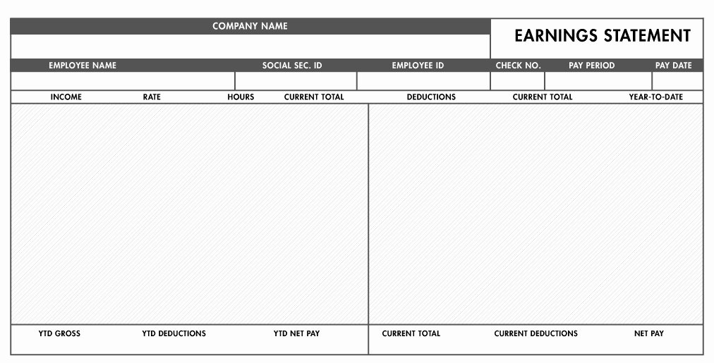 free basic paystub template excel