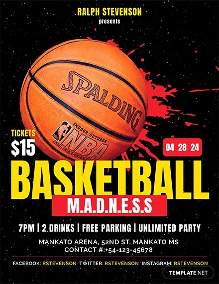 Free Basketball Madness Flyer Template Download 646