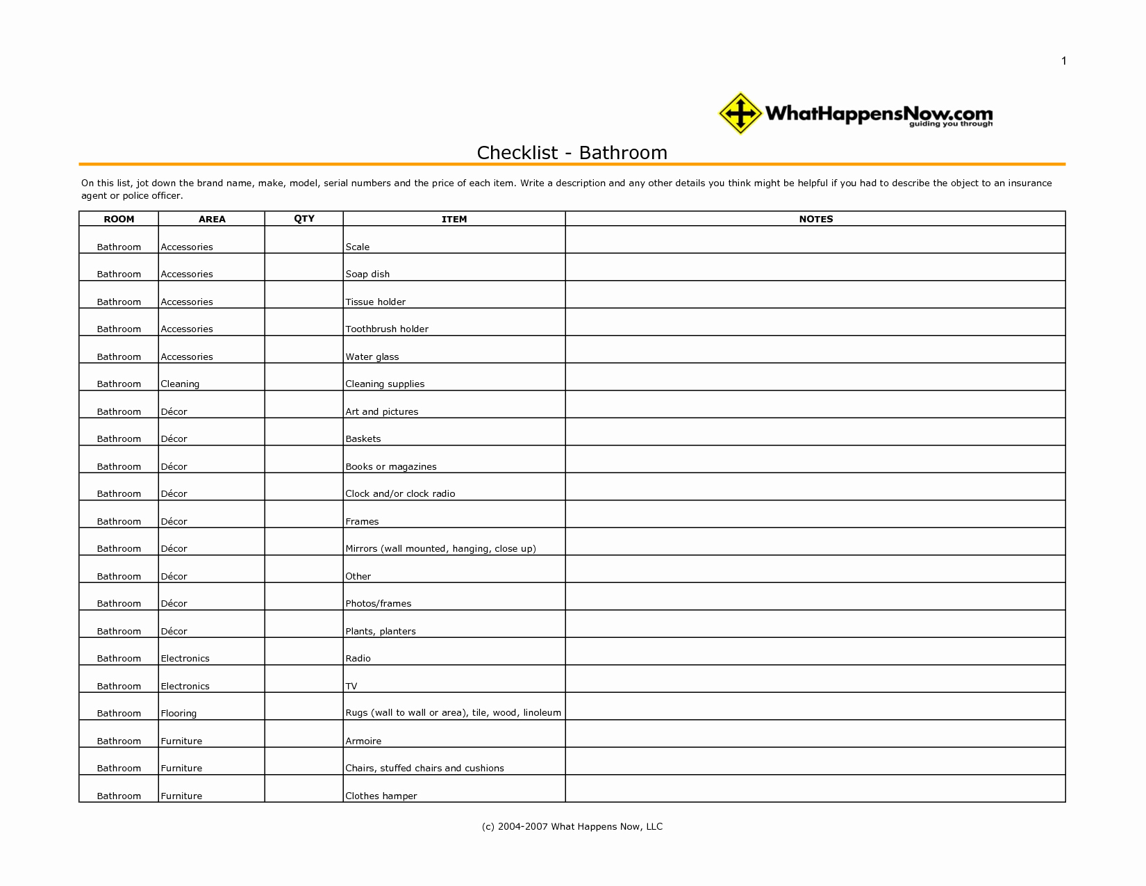 Free Bathroom Checklist Template Bathroom Design Ideas