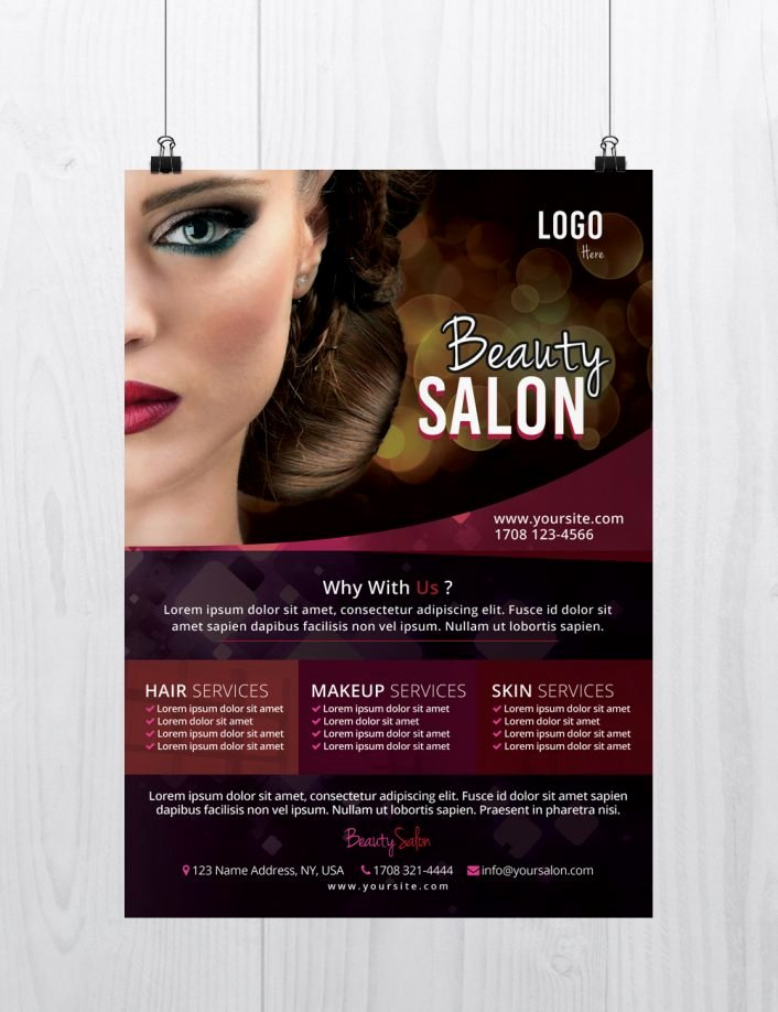 Free Beauty Salon Flyer Template Flyershitter