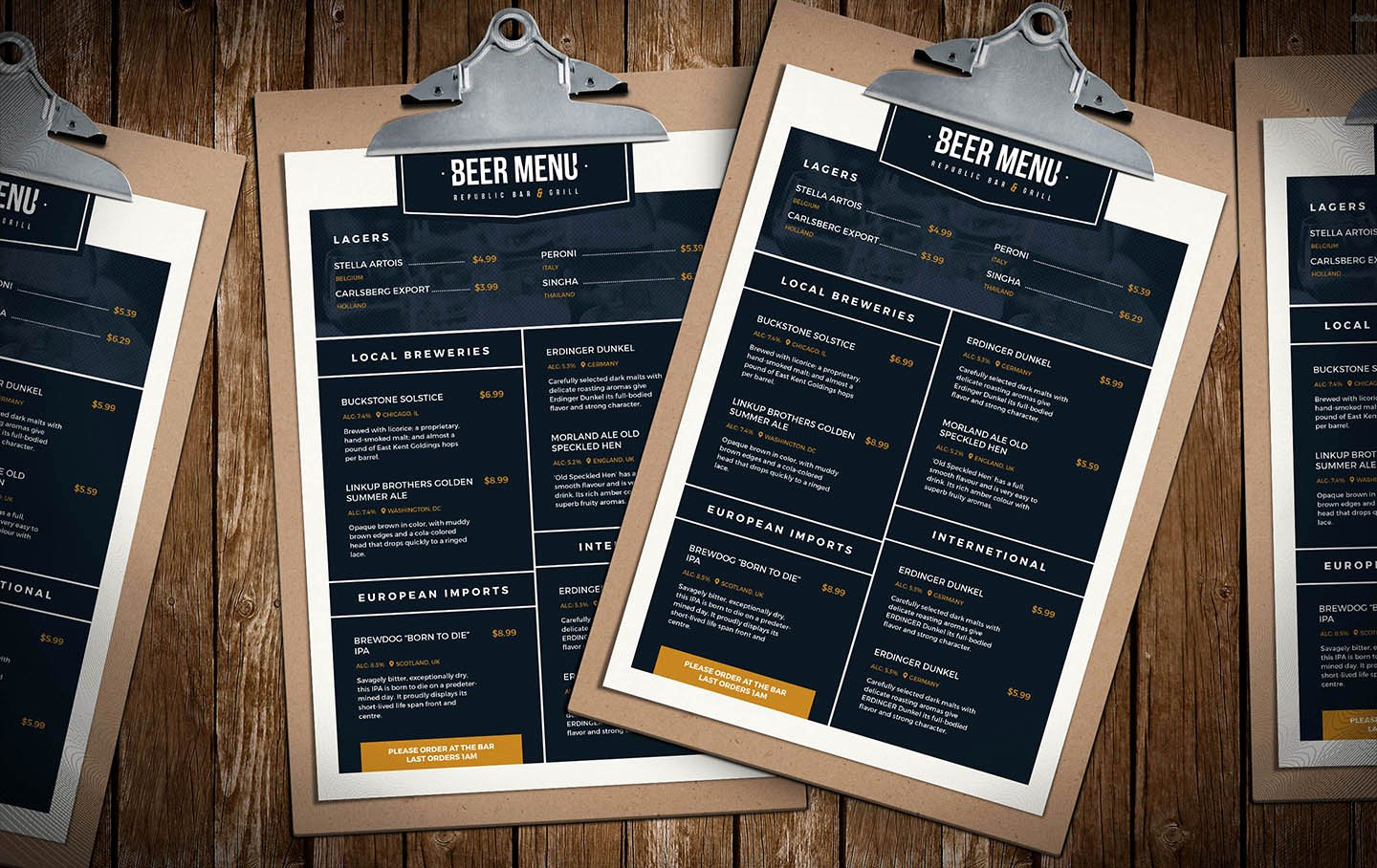 Free Beer Menu Template for Shop & Illustrator